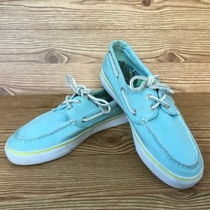 Sperry Top-Siders Turquoise Bahama Boat Shoes 7M